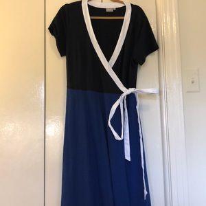 eShakti 2x navy/royal wrap dress